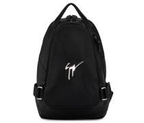 Black crocodile-embossed leather backpack MACK