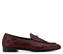 Red crocodile-embossed calf leather loafer with metal detail ARCHIBALD CROSS