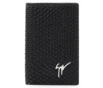 Black crocodile-embossed leather wallet ALBERT