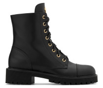 Black calfskin leather boot with logo CHRIS HIGH