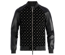 Men's black velvet and leather jacket with 'Logo' motif REGAL G