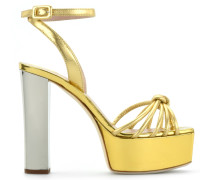 Yellow patent leather clog with chunky heel SWIG