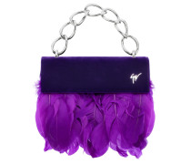 Violet velvet clutch with feathers TALIA
