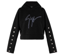 Black fabric hoodie with metal accessories HARPER