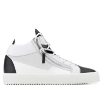Black calfskin leather mid-top with white leather insert KRISS DUAL