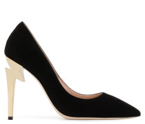 Black suede pump with 'sculpted' heel G-HEEL