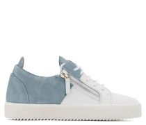 White calfskin low-top sneaker with blue velvet insert DOUBLE