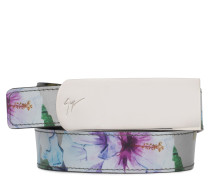 Silver shooting leather belt with printed flowers SPRING