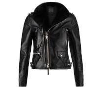 Schwarze Kalbsleder-Jacke mit Reißverschlüssen und Schnallen AMELIA
