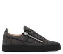 Black fabric low-top sneaker with glitter finishing FRANKIE GLITTER