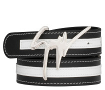Black calfskin belt with white patent leather insert DOUBLE
