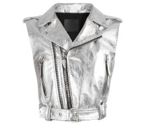 Silver laminated nappa sleeveless jacket AMELIA BRIGHT