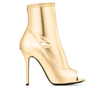 Gold laminated stretch fabric boot with open toe TISHA