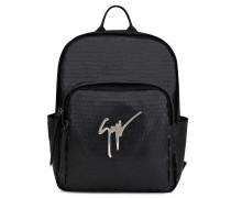 320x410 mm black crocodile-embossed backpack CAREY