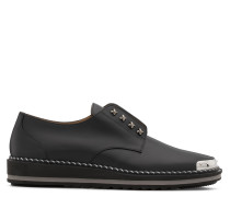 Black calf leather shoes with metal-covered tip CROSS