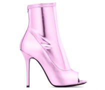 Pink laminated stretch fabric boot with open toe TISHA