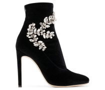 Black velvet stretch fabric boot with crystals CELESTE CRYSTAL