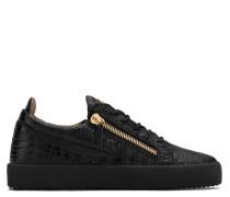Black crocodile-embossed low-top sneaker FRANKIE