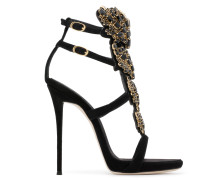 Black suede 'Cruel' sandal with crystals CRUEL SPARKLE
