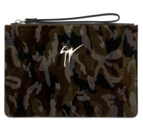 Green camouflage fabric clutch MARCEL