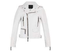 White nappa motorcycle jacket AMELIA