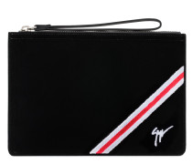 Black velvet pouch with white and red inserts CHALMER