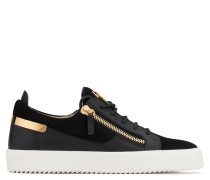 Black suede low-top sneaker with calfskin leather insert FRANKIE