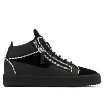 Black calf leather and black suede mid-top with crystals profile CRAIG