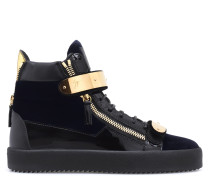 Velvet and paten leather sneaker COBY