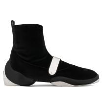 Black stretch velvet high top sneaker with silver metal plate LIGHT JUMP HT2