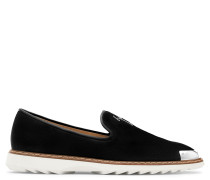 Suede loafer with signature and metal tip CEDRIC