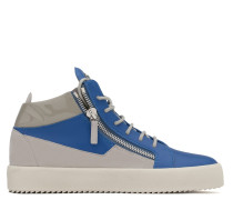 Blue calfskin leather mid-top sneaker with grey inserts KRISS