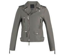 Grey nappa motorcycle jacket AMELIA