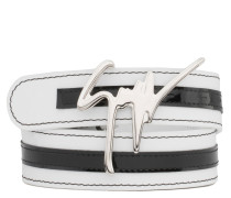 White calfskin belt with black patent leather insert DOUBLE