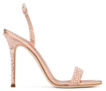 Rose gold patent leather sandal with crystals ADALIE