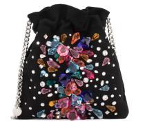 Black suede clutch with multicolour crystals BLINDA