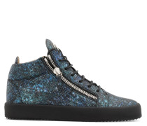 Blue python-embossed calfskin leather low-top sneaker KRISS