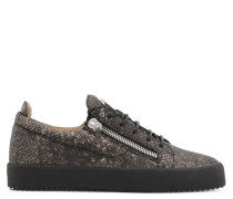 Grey python-embossed calfskin leather low-top sneaker FRANKIE