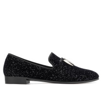 Black fabric loafer with flocking patina and silver glitter SHARK