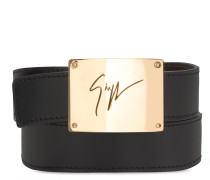 Black calfskin leather with metal bar BILL