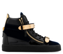 Dark blue velvet and patent leather high-top sneakers COBY