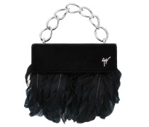 Black velvet clutch with feathers TALIA