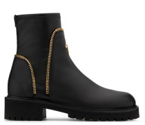 Black stretch leather boot with zips detail CARLY
