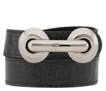 Black leather belt with metal accessory ARCHIBALD