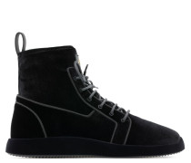 Black velvet stretch high-top sneakers CESAR