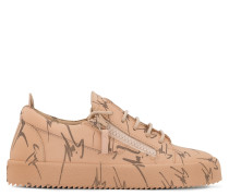 Beige fabric low-top sneaker with logo motif THE SIGNATURE