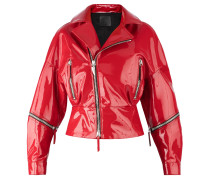 Women's red soft patent leather jacket AUTUMN