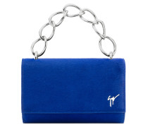 Blue fur clutch with logo LUCRETIA