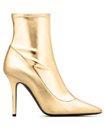 Gold laminated stretch fabric boot Salomè