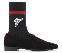 Black suede loafers with black and red sock G-FLASH PLUS
